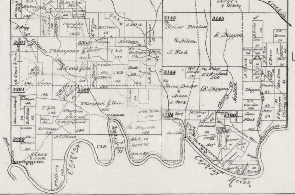 Parcel Map 1900s Cooksburg Barnett Twp Forest County - Cook Forest State Park Maps Historic