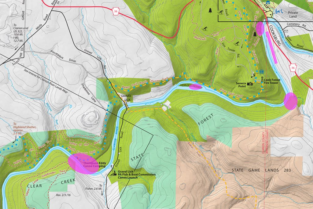 Cook Forest State Park Map of Clarion River Invasive Plants