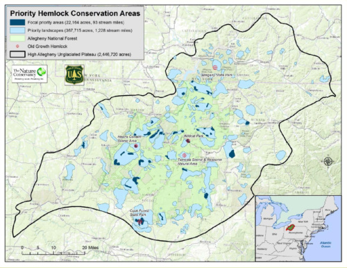 High Allegheny Hemlock Conservation Partnership priority areas map including Cook Forest State Park HAHCP